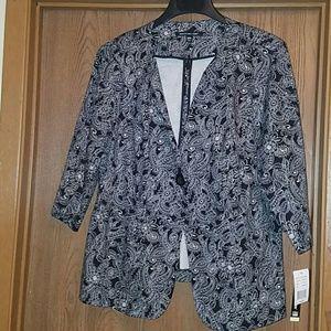 Briggs NY black print blazer